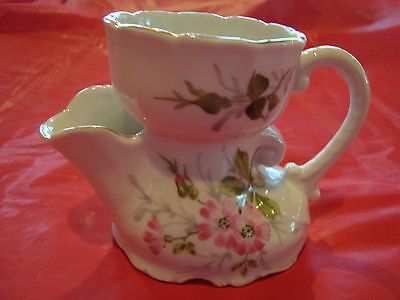 Vintage Shaving Scuttle Mug Cup Flowers On One Side Very Good Condition