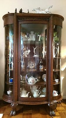Antique Wooden Curved Glass Display Cabinet Vitrine Buffet Victorian, solid oak