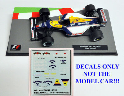Nigel Mansell 1992 FW14B Camel & Labatts Decals 1:43 Formula 1 Car Collections