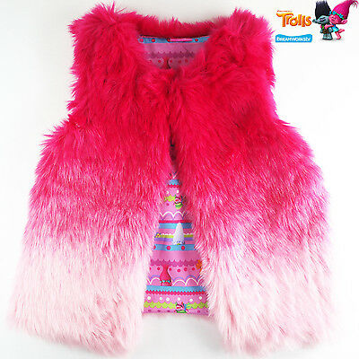 Girls TROLLS fur vest winter warm outfit costumes size 4-16 book week xmas gift