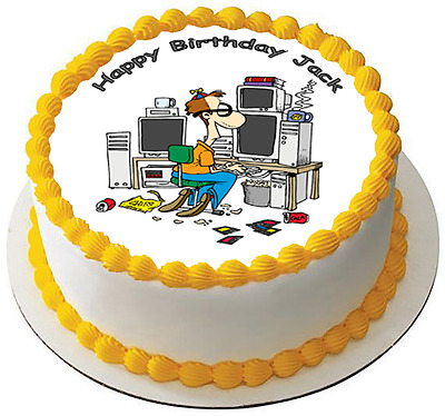 PC GEEK COMPUTER NERD 7.5 PREMIUM Edible ICING Cake Topper CAN PERSONALISED D1