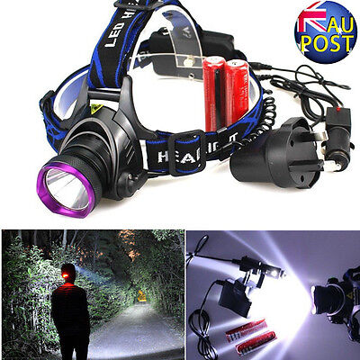 6000LM XML CREE T6 LED Headlight Headlamp Head Torch Light 18650 Battery Charger