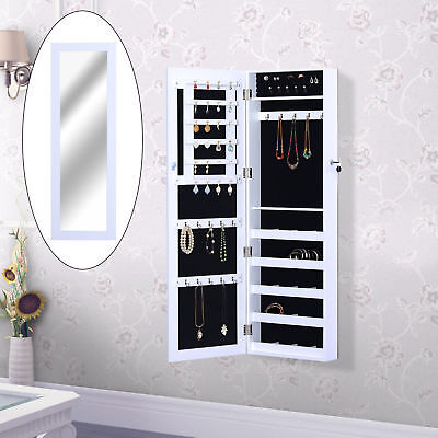 HOMCOM Black Mirrored Jewelry Cabinet Wall Mounted Real Glass Mirror Locked