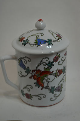 20C Chinese Porcelain Tea Cup with Lid, Hand Painted