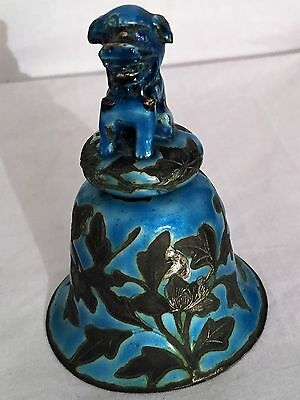 Antique Chinese Blue Enamel Cloisonne Bell with Foo Dog on Top Signed China 1900