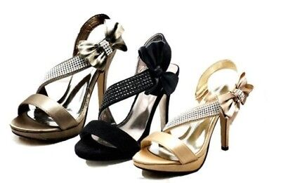 Ladies Side bow high heel party sandals / shoes