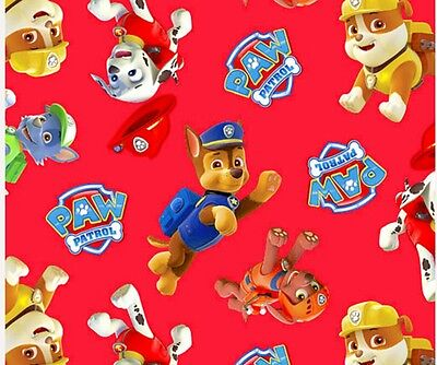 Paw Patrol Puppy Pursuit Fabric * New * Red *  In Stock * Free Post *
