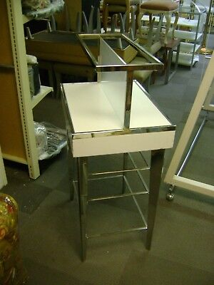 White   & Chrome Glass Tier Retail Store Fixture Merchandise Display Table