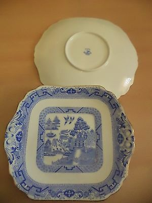 2 OLD ANTIQUE BLUE WHITE hanley hancocks BONE CHINA WILLOW PATTERN SQUARE PLATES