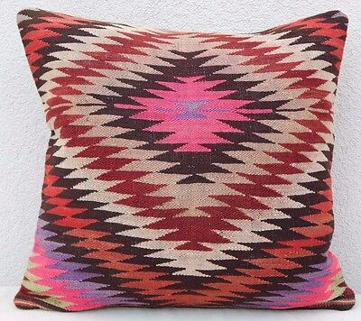20'' X 20'' Diamond Pattern Vintage Turkish Woven Pink Kilim Rug Pillow Cover