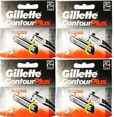 20 x Gillette Contour Plus CARTIRIDGES WITH LUBRICANT STRIP (4 x 5 Pack) New