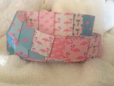 1 Flamingos 25mm Grosgrain Ribbon 3 Meter Length Hair Bow Craft Sewing Scrapbook
