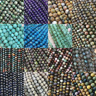NEW Wholesale Lot Natural Stone Gemstone Round Spacer Loose Beads 4MM 6MM 8MM