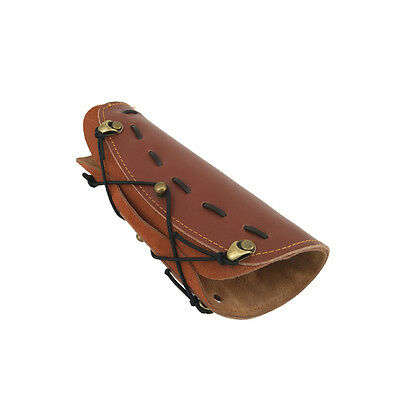 Brown Archery Arm Guard Traditional Cow Leather Bracer for Longbow & Recurve Bow