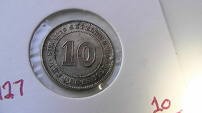 Straits Settlements 1927 10 cents silver coin