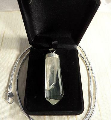 Clear Quartz Soulmate Pendant Chakra Sterling Silver Large Crystal Necklace