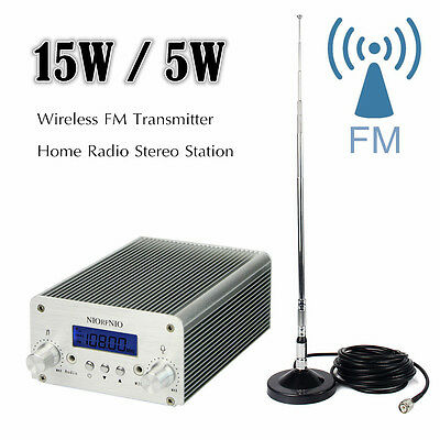 15W/5W Wireless FM Transmitter Home Radio Stereo Station PLL LCD with Antenna
