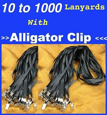 BULK 10 to 1000 BLACK Lanyards Neck Strap With Alligator Crocodile Steel Clip