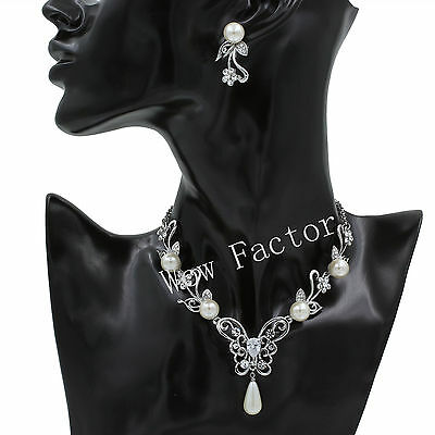 Ivory Pearl CZ Crystal Butterfly Bridal Wedding Necklace Earrings Jewellery Set