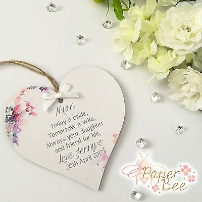 Mum Wedding Day Quote Thank You Gift Personalised Plaque Keepsake Present Wooden