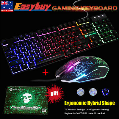 T6 Rainbow Backlight Usb Ergonomic Gaming Keyboard + 2400DPI Mouse + Mouse Pad