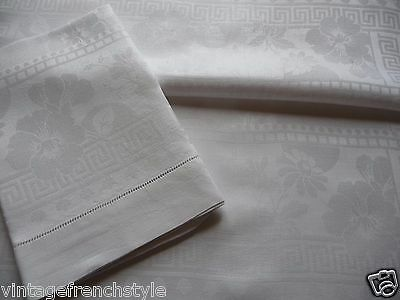 "Pair Of Antique French Linen Towels  ""jh"" Finest Fil De Lin Beautiful Damask"