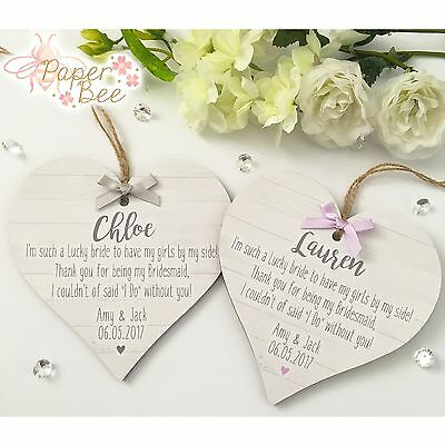 Bridesmaid Quote Wedding Thank You Gift Personalised Plaque Keepsake Present