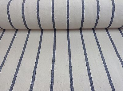 Cannes Cream/Blue Heavy Woven Striped Cotton Upholstery/Curtain Fabric
