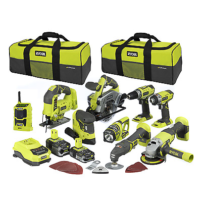 Ryobi One+ 18V 9-Piece Mega Kit Comes with a 5.0Ah and 2.5Ah One+ batteries