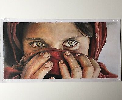 Original pencil drawing of The Afghan Girl by Steve McCurry