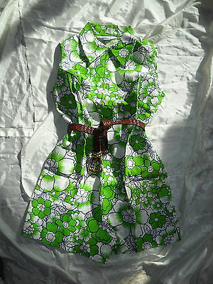 NEW! VTG Sears Mod 1960s Green White Floral Cotton Romper Play Suit GROOVY! ~  L