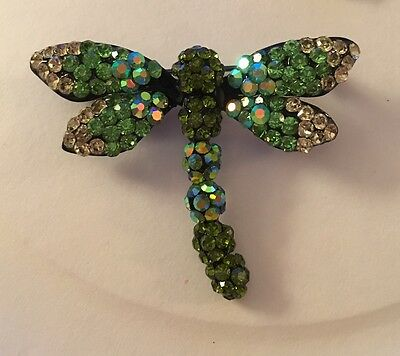 Unusual Green and Yellow Pave Crystal Dragonfly Pin Brooch