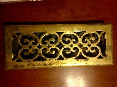 "Vintage brass plated vent cover 13 1/2"" x 5 1/2"""