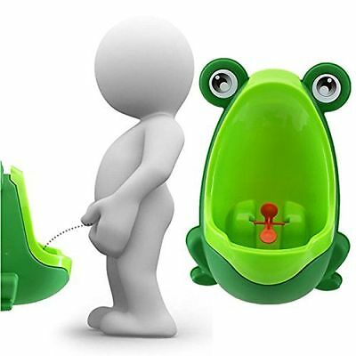 Frog Potty Training Urinal for Child Kids Boys with Funny Whirling Target Green