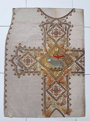 Antique French Lamb of God Vestment Chasuble Embroidered Panel