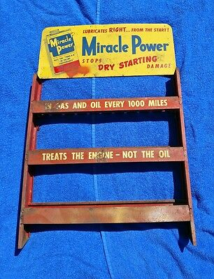 """RARE VTG 1950s """"MIRACLE POWER"""" OIL ADDITIVE SERVICE STATION DISPLAY SIGN/STAND"""
