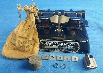 VINTAGE GRISWOLD FILM SPLICER Junior model 8mm & 16mm jr. With original bag