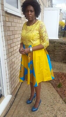 AFRICAN YELLOW LACE TOP  ANKARA DRESS size 12-14uk knee length