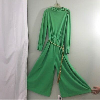 Vintage Mod 1960s Green Velour Terry Cloth Wide Legged Palazzo Jumpsuit M