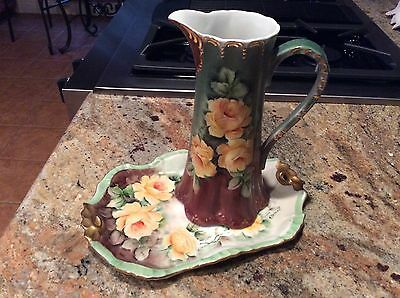 Antique hand painted water pitcher by E. Plagman