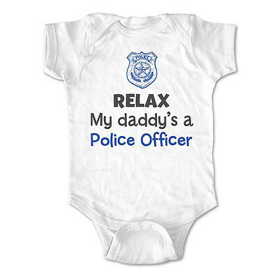 Relax my daddy's a police officer - baby bodysuit, infant toddler youth shirt
