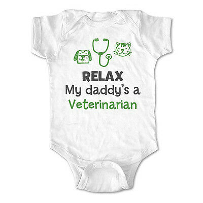 Relax my daddy's a veterinarian - baby bodysuit, infant toddler youth shirt