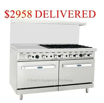 "60"" inch (5 foot) 6 Burner Range Top w/ Double 2 Oven and 24"" Left side Griddle"