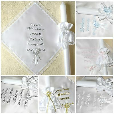 personalised baby christening/baptism candle & robe . Świeca i szatka do chrztu