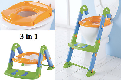 Kids Kit 3 in 1 Baby Toilet Potty Trainer Step Up & Foldable Seat - New