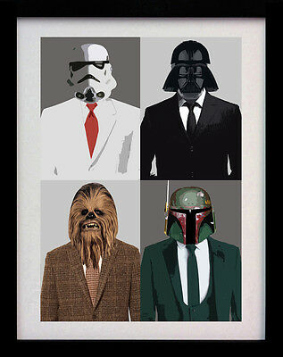 Star Wars Suited Vader Fett A3 Pop Art Poster Print - Limited Edition Of 100