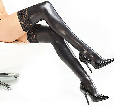 Damen Halterlose Overknees Lederlook Optik Wetlook Strümpfe Schwarz Stockings