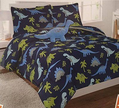 6pc Dinosaur Twin Sized Boys Comforter Set Bed in a Bag Bedding Sheet Set