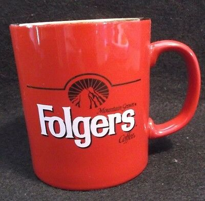 """Vtg FOLGERS """"The best part of wakin' up"""" Advertising Coffee Mug Cup Gold Trim"""