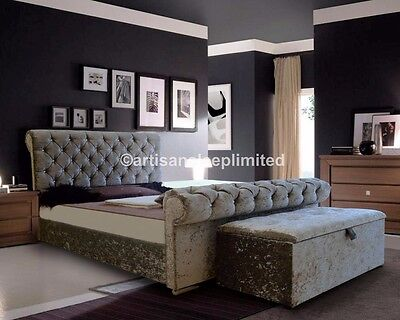 Crushed Velvet Bed Double Size 4ft 6 Sleigh